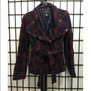 Navy and red plaid Wool coat